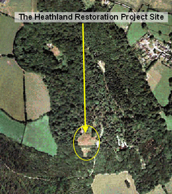 Aerial view of the Woodland Education Centre and Heathland Restoration Project site.